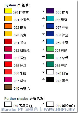 ���R��PY系列�z印移印油墨�色�φ毡� Marabu Inks color table